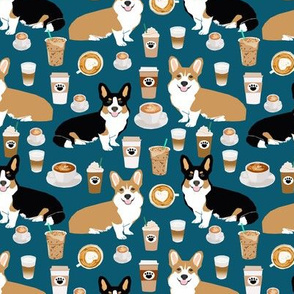 corgis and coffees fabric tri colored corgis and coffees fabric cute coffee lover fabric