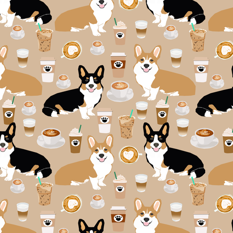 corgis and coffees fabric best tri colored coffee design cute coffees and dogs print fabric by petfriendly on Spoonflower - custom fabric