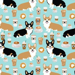 corgis  and coffees fabric tri colored and red corgi fabric coffee lover fabric