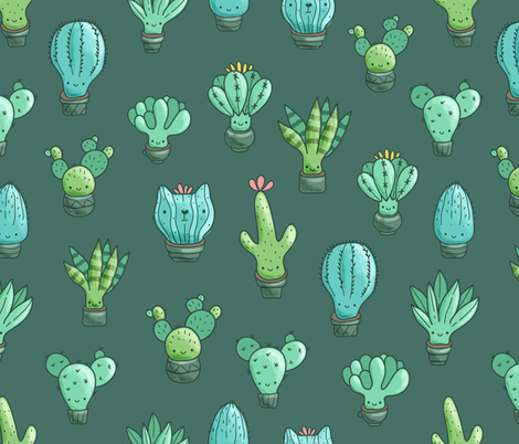 cacti_pattern BIG fabric by kostolom3000 on Spoonflower - custom fabric