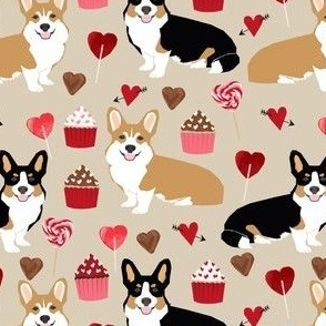 corgis valentines tri colored corgi fabric cute love hearts cupcakes fabric