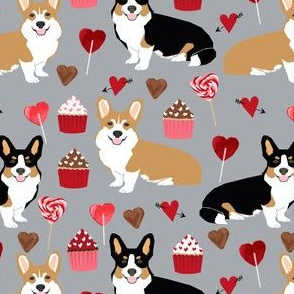 corgi valentines tri colored corgis valentines love fabric