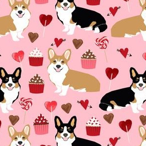 corgis tri colored corgi fabric cute valentines love pink design best cupcakes and sweet design