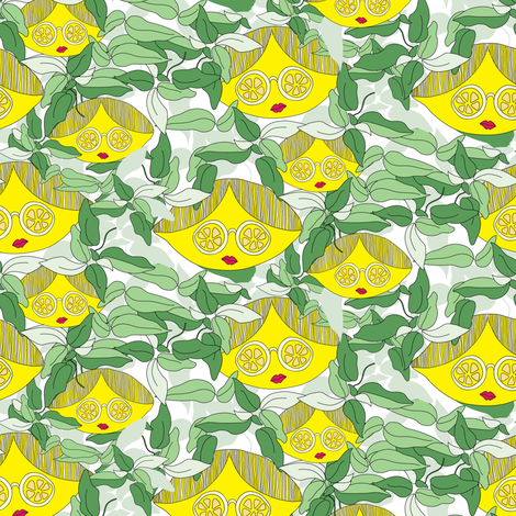 16-13AQ Ms. Lemon on White_Miss Chiff Designs fabric by misschiffdesigns on Spoonflower - custom fabric