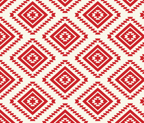 Aztec- Red, Ivory fabric by fernlesliestudio on Spoonflower - custom fabric