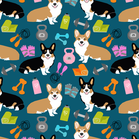 corgi workout fabric fitness new years resolutions train lift fitness dogs fabric by petfriendly on Spoonflower - custom fabric