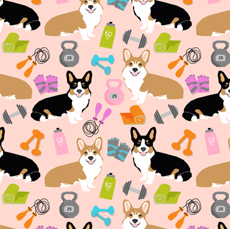 corgis workout fitness fabric jump rope dumbbells kettlebell fabric fabric by petfriendly on Spoonflower - custom fabric