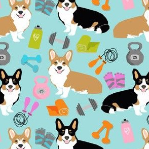 corgi workout fitness fabric cute dumbbells and kettlebells dog fabric best dogs design
