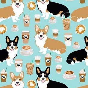 Cardigan corgis and coffees fabric - cute coffee lover fabric.