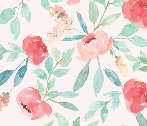 Large Watercolor Floral on Pink fabric by taylor_bates_creative on Spoonflower - custom fabric