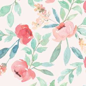 Large Watercolor Floral on Pink