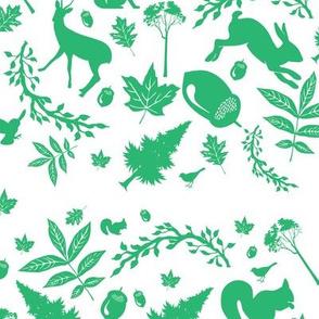Green Woodland Fabric Rabbit Deer Fox