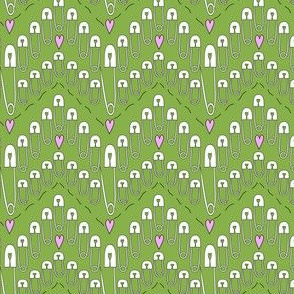 Safety pin chevrons with pink hearts