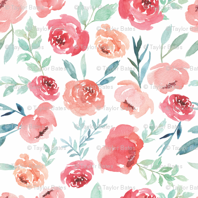 Large Watercolor Flowers on White