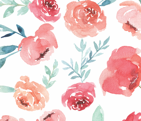 Large Watercolor Flowers on White fabric by taylor_bates_creative on Spoonflower - custom fabric