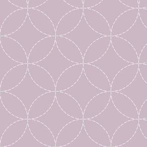 faux sashiko embroidery on lilac-mauve
