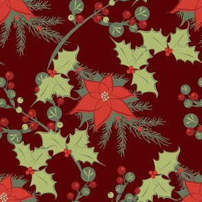 Poinsettias and Holly on Red