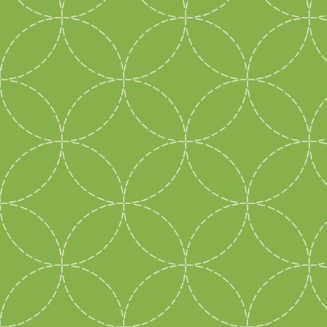 faux sashiko circles on fresh green fabric by weavingmajor on Spoonflower - custom fabric