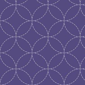 faux sashiko circles on purple