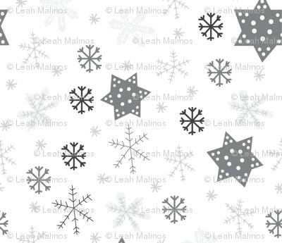Snowflakes Monotone