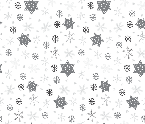 Snowflakes Monotone fabric by pixabo on Spoonflower - custom fabric