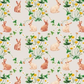 Meadow Bunnies Floral on Vintage Cotton