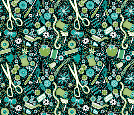 Mosaic Sewing Notions fabric by vo_aka_virginiao on Spoonflower - custom fabric