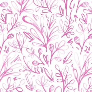 Sketchy Floral Watercolor Pattern - Pink On White
