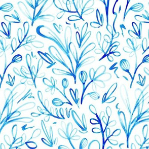 Sketchy Porcelain Blue Flowers Watercolor