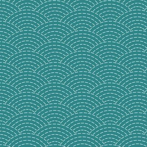 faux sashiko scallop on teal