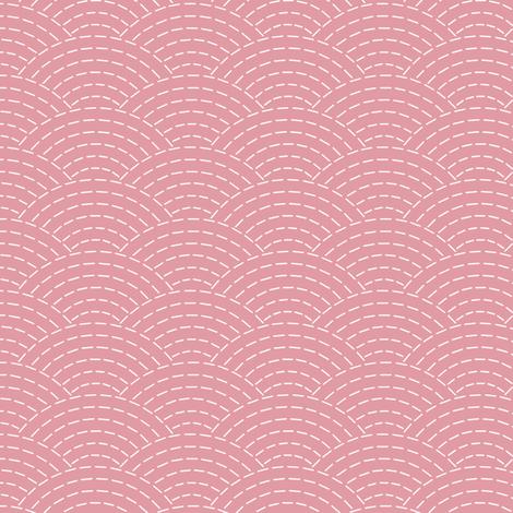 faux sashiko scallop on hyacinth pink fabric by weavingmajor on Spoonflower - custom fabric