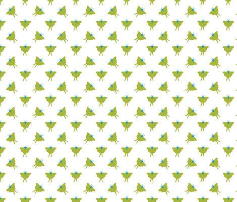 Luna Moth white fabric by solvejg on Spoonflower - custom fabric