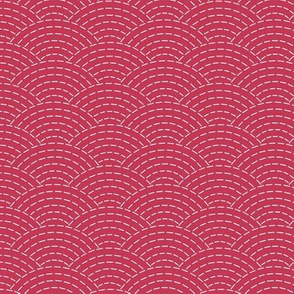 faux sashiko scallop on soft red