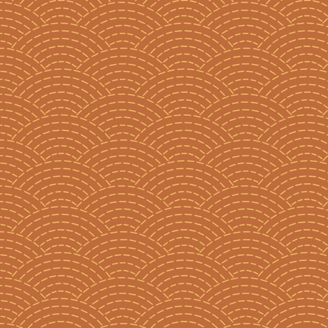 faux sashiko scallop on copper fabric by weavingmajor on Spoonflower - custom fabric