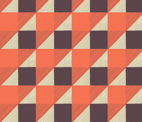 BuffaloCheck with Orange Triangles fabric by lilafrances on Spoonflower - custom fabric