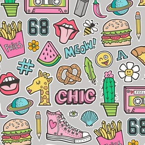 90's Vintage Patches Stickers Doodle Audio Tape, Cactus, Watermelon, Pizza, Hamburger, Fries & Shoes on Grey