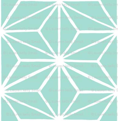 Star Grid Mirror Seafoam