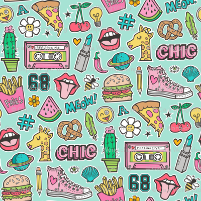 90's Vintage Patches Stickers Doodle Audio Tape, Cactus, Watermelon, Pizza, Hamburger, Fries & Shoes on Mint Green