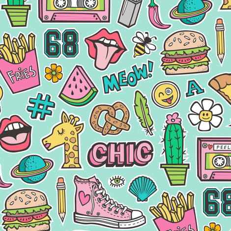 90's Vintage Patches Stickers Doodle Audio Tape, Cactus, Watermelon, Pizza, Hamburger, Fries & Shoes on Mint Green fabric by caja_design on Spoonflower - custom fabric