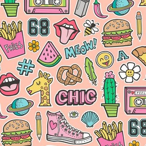 90's Vintage Patches Stickers Doodle Audio Tape, Cactus, Watermelon, Pizza, Hamburger, Fries & Shoes on Peach