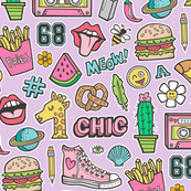 90's Vintage Patches Stickers Doodle Audio Tape, Cactus, Watermelon, Pizza, Hamburger, Fries & Shoes on Purple Purpel