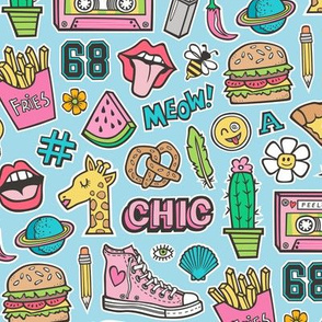 90's Vintage Patches Stickers Doodle Audio Tape, Cactus, Watermelon, Pizza, Hamburger, Fries & Shoes on Blue