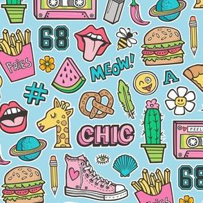 90's Vintage Patches Stickers Doodle Audio Tape, Cactus, Watermelon, Pizza, Hamburger, Fries & Shoes on Blue