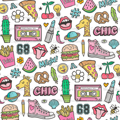 90's Vintage Patches Stickers Doodle Audio Tape, Cactus, Watermelon, Pizza, Hamburger, Fries & Shoes on White