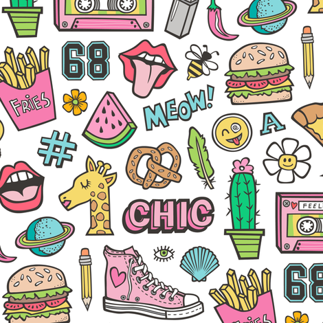 90's Vintage Patches Stickers Doodle Audio Tape, Cactus, Watermelon, Pizza, Hamburger, Fries & Shoes on White fabric by caja_design on Spoonflower - custom fabric