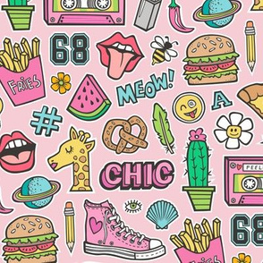 90's Vintage Patches Stickers Doodle Audio Tape, Cactus, Watermelon, Pizza, Hamburger, Fries & Shoes on Pink
