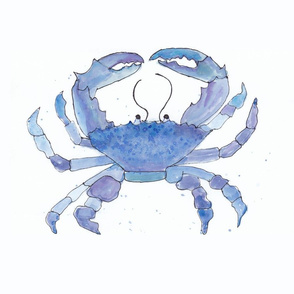 blue watercolor crab