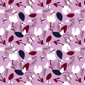 Floral in Navy & Orchid