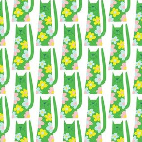 Flower Power cats- green