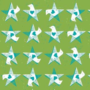 Star Bird Blue Heart